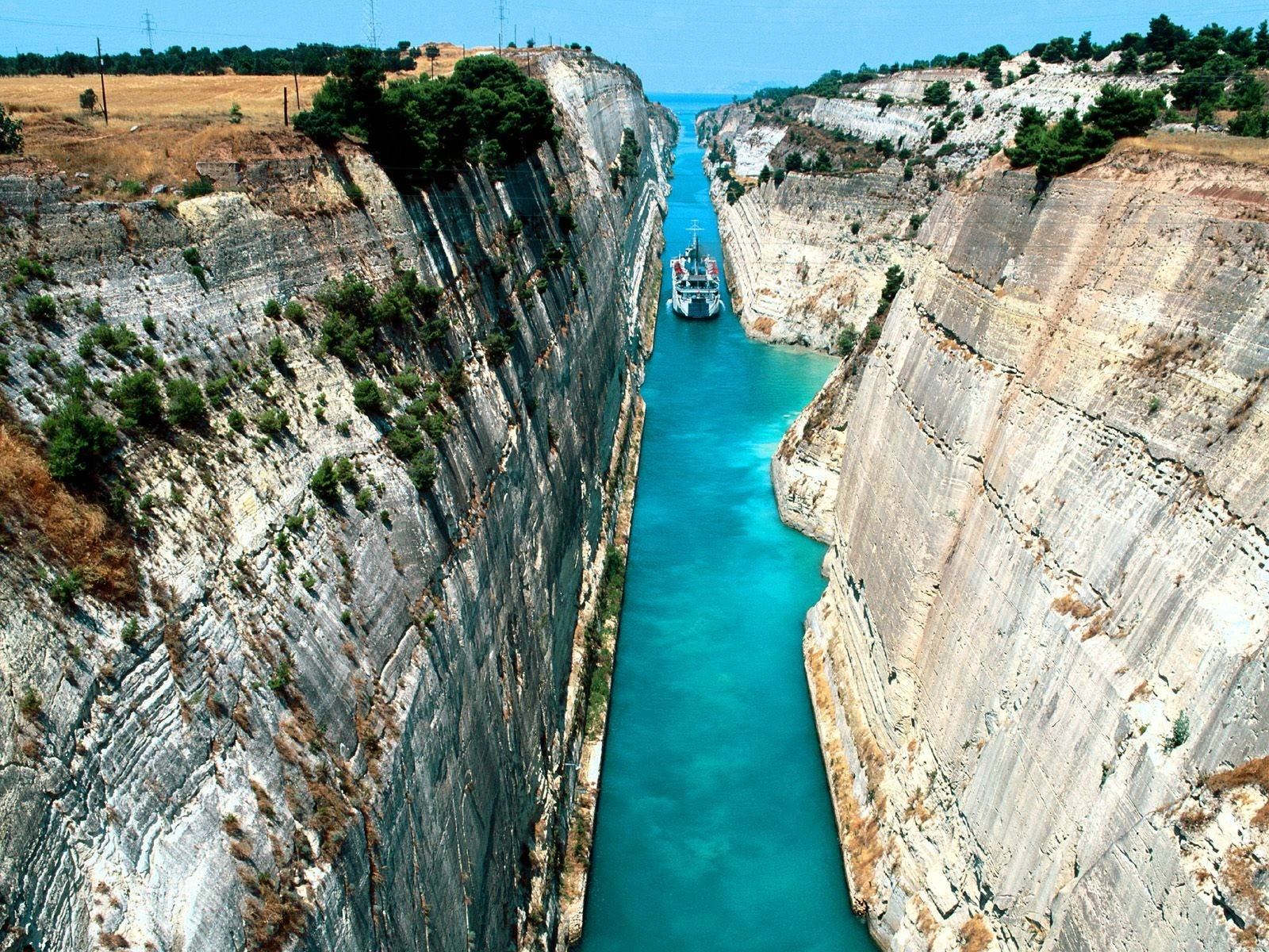 Cruising Off the Gorgeously Narrow Corinth Canal in Greece