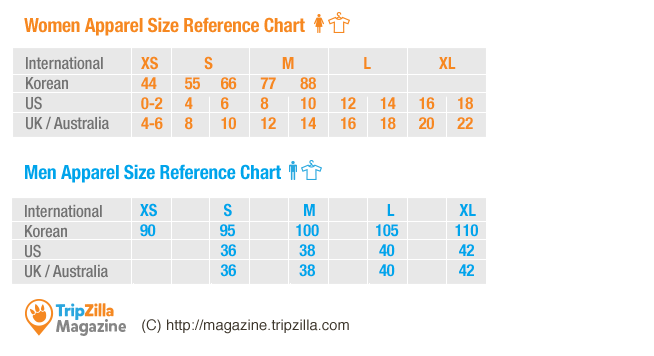 Korean clothing size chart