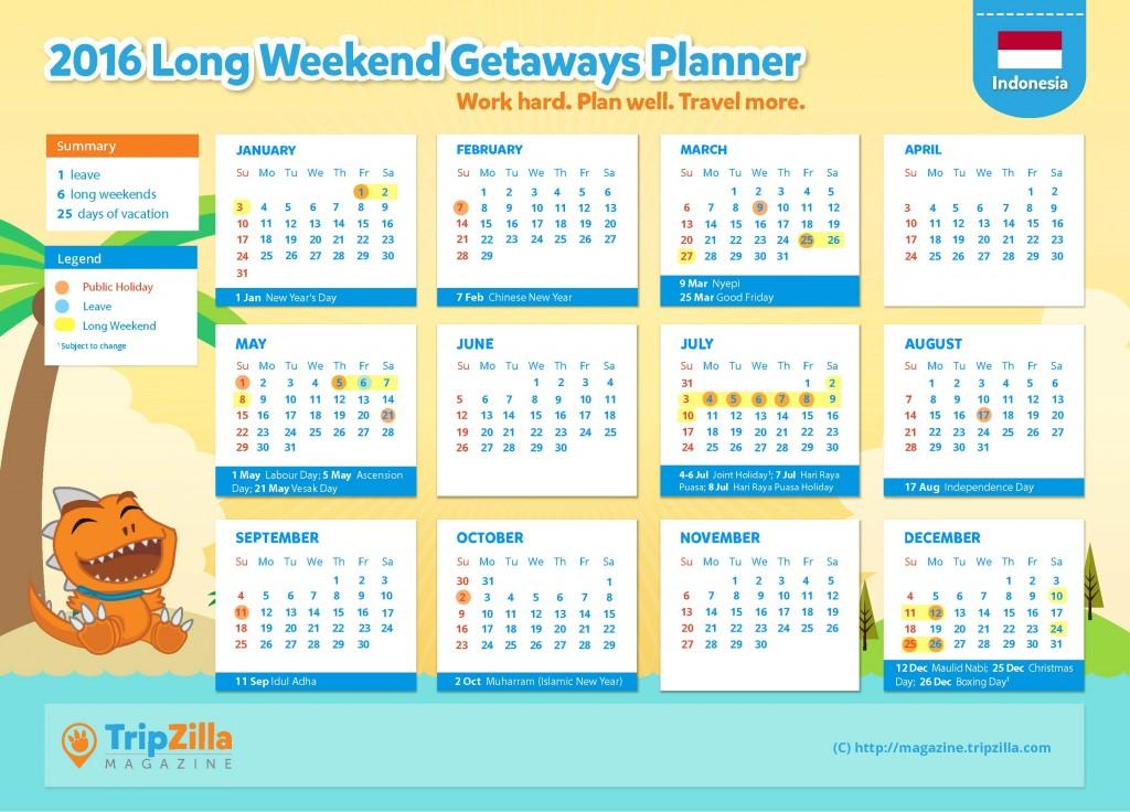 TripZilla Magazine - Indonesia 2016 Long Weekends and Public Holidays Calendar