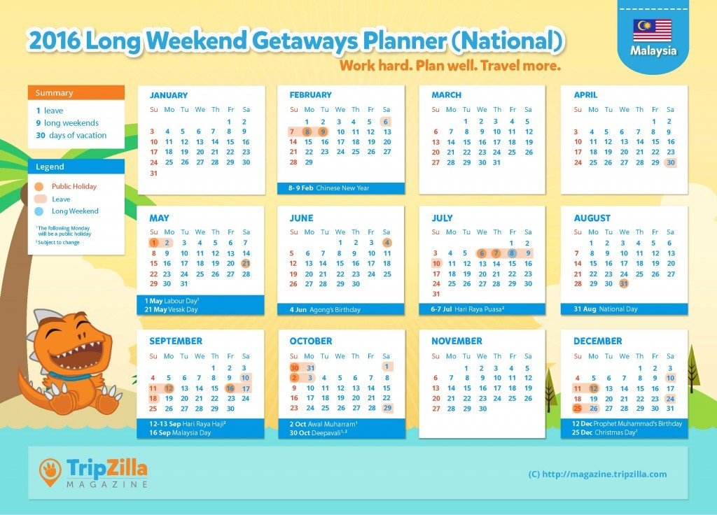 TripZilla Magazine - Malaysia 2016 Long Weekends and Public Holidays Calendar