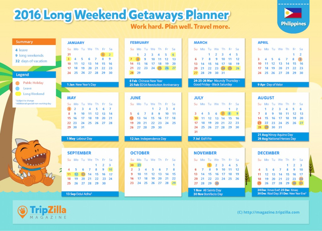 TripZilla Magazine - Philippines 2016 Long Weekends Calendar