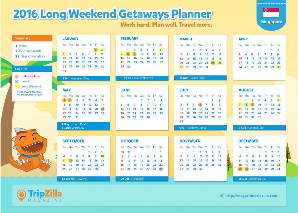 TripZilla Magazine - Singapore 2016 Long Weekends and Public Holiday Calendar