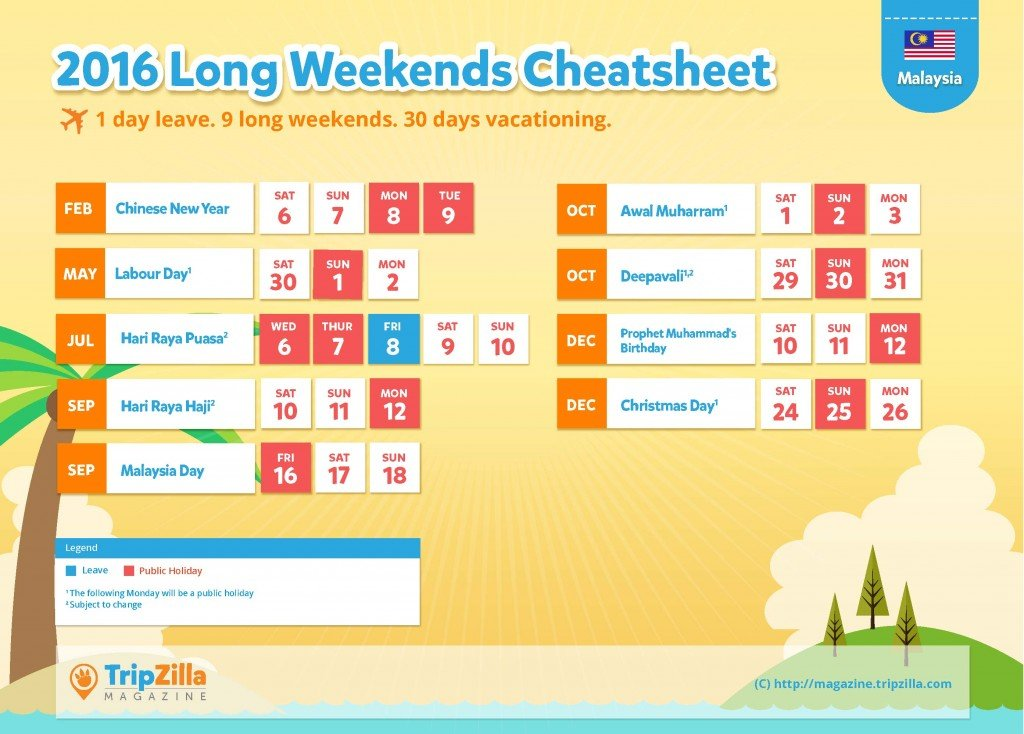 TripZilla Magazine - Malaysia 2016 Long Weekends and Public Holidays Cheatsheet