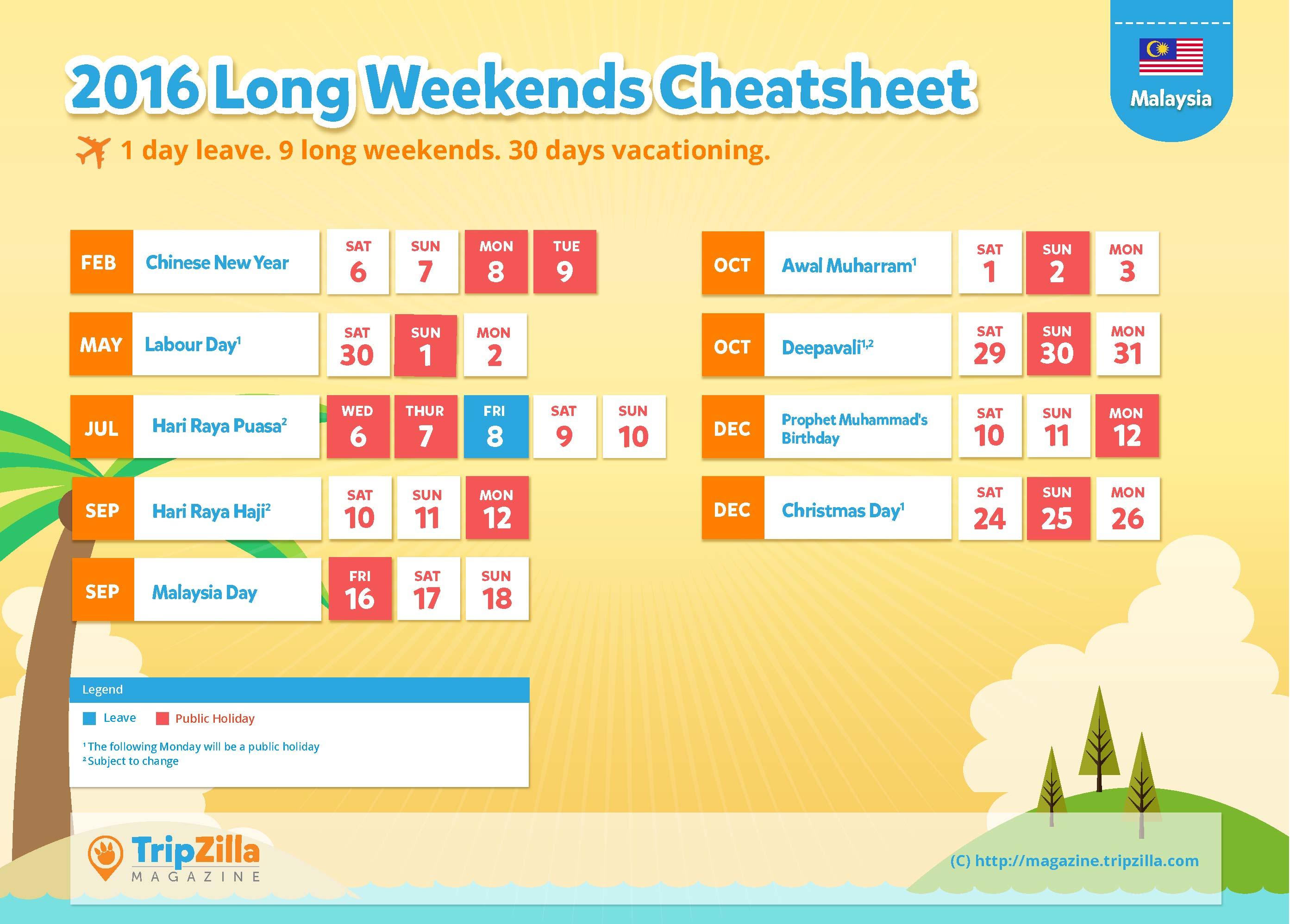 ... Magazine - Malaysia 2016 Long Weekends and Public Holidays Cheatsheet