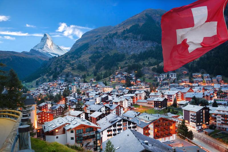 Zermatt village with the peak of the Matterhorn in the Swiss Alps