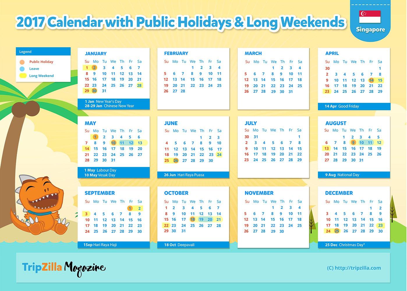 TripZilla Magazine - Singapore 2017 Long Weekends Calendar CHEATSHEET