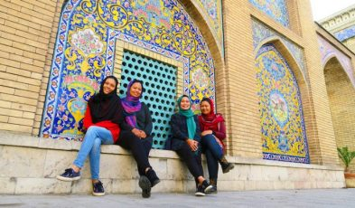 tourists in golestan palace, iran