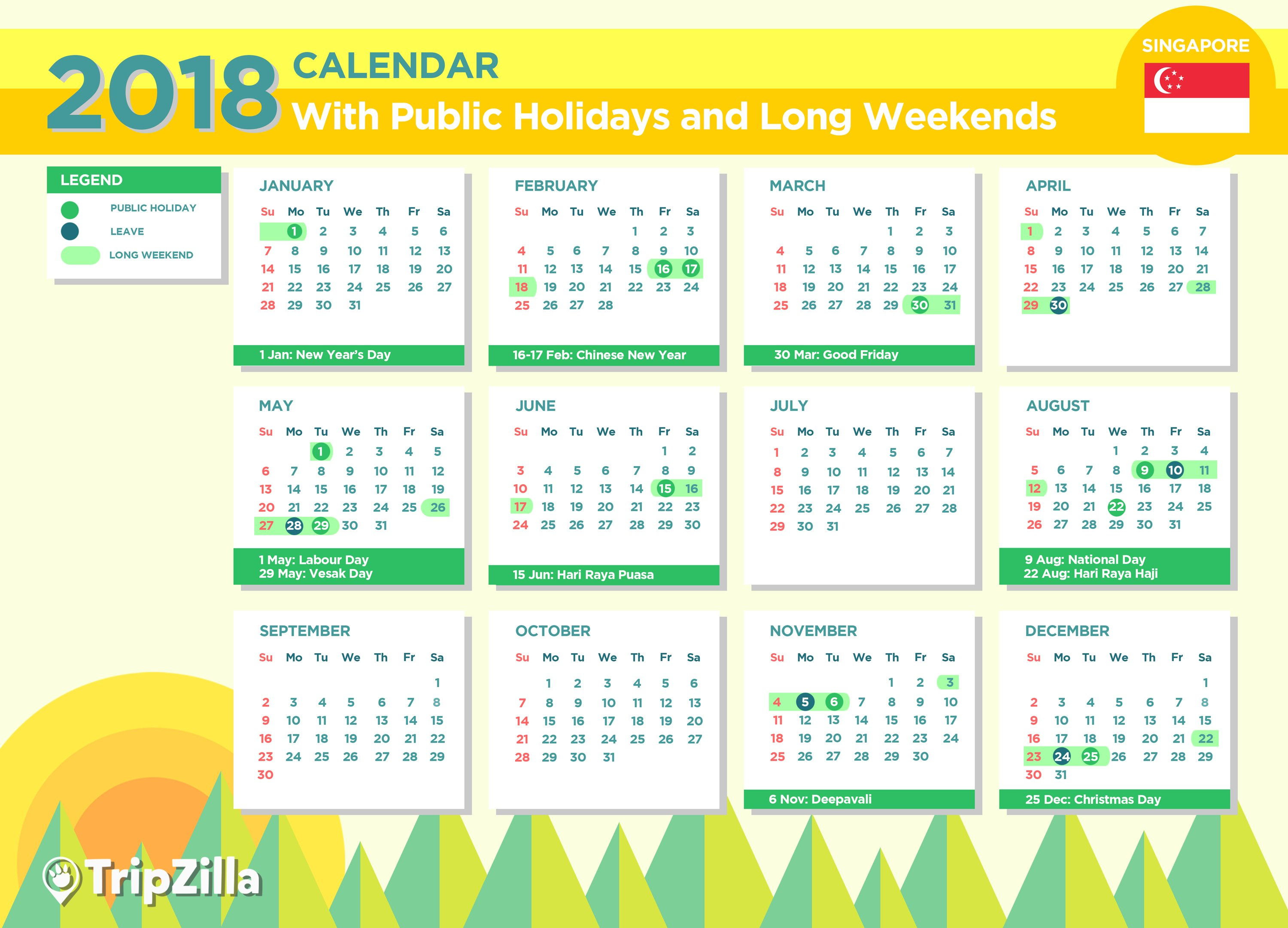 Singapore 2018 Public Holidays and Long Weekends Calendar