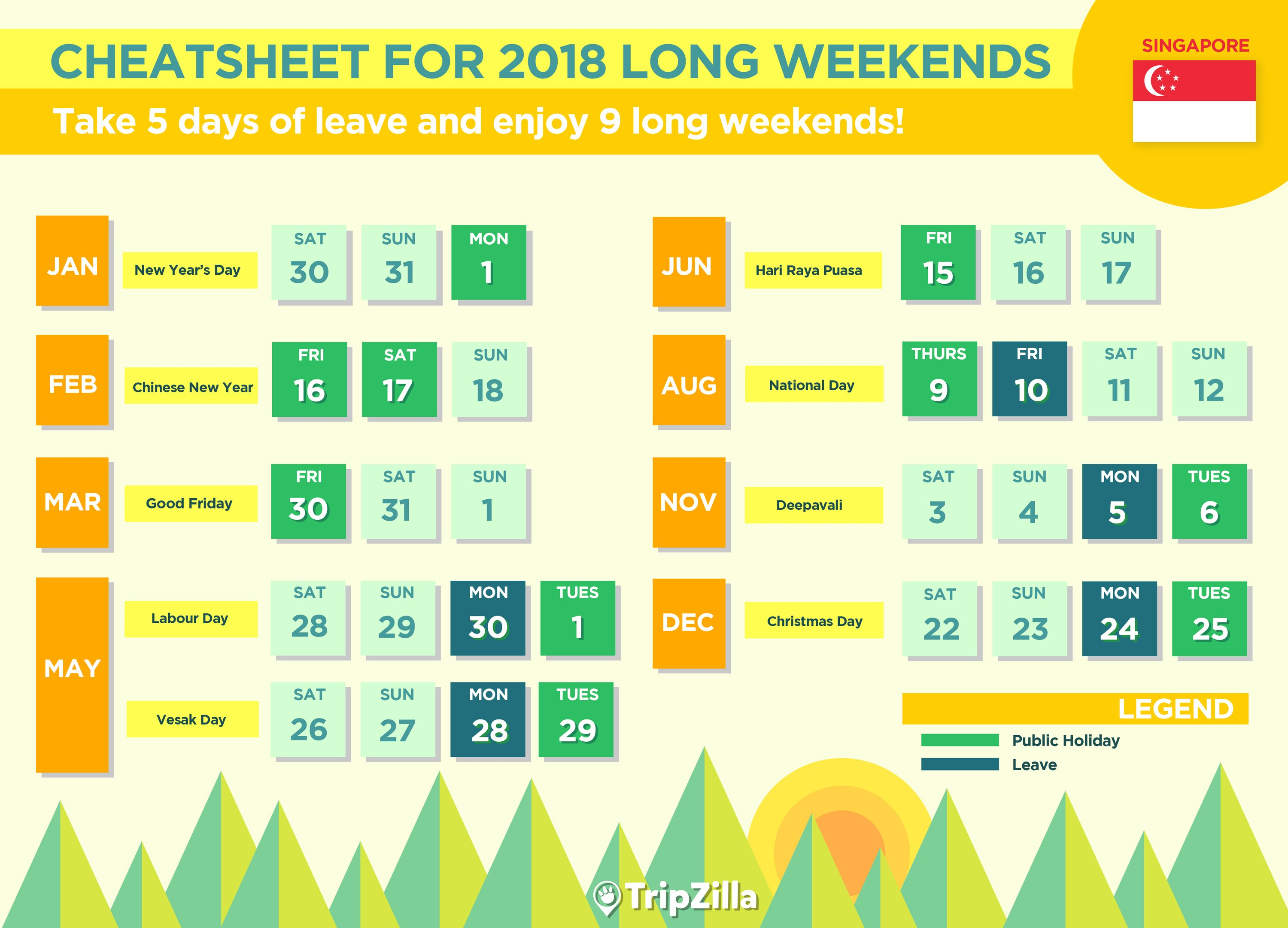 singapore 2018 public holidays and long weekends cheatsheet