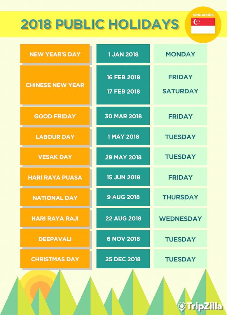 9 Long Weekends in Singapore in 2018 (Bonus Calendar & Cheatsheet)